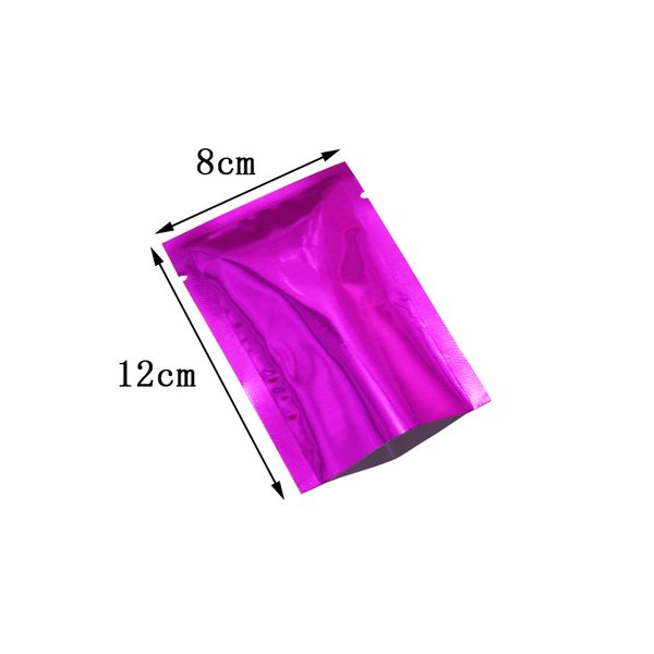8*12cm Purple Open Top Coffee Tea Packing Bag 200pcs/lot Dried Food Powder Vacuum Package Heat Seal Bulk Food Packing Pouch with Tear Notch