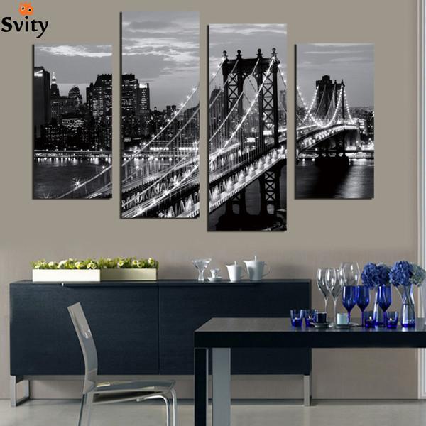 4 pezzi Mordern immagine muro dipinto su tela blackwhite bridge foto stampa decorazione paesaggio arte per soggiorno senza cornice