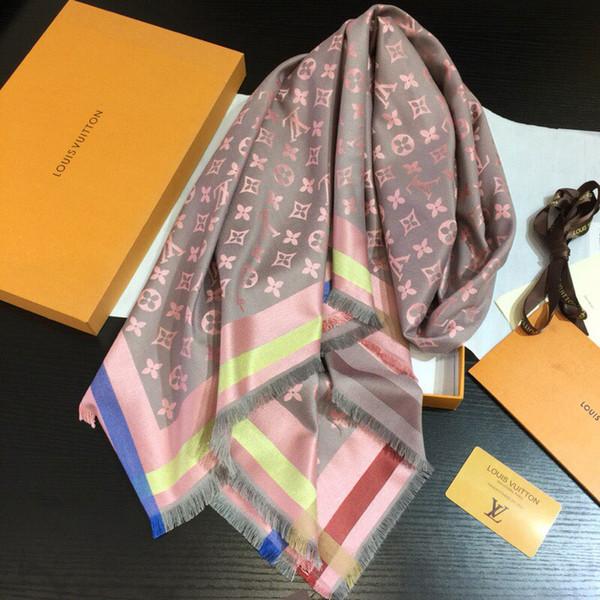 Écharpes mode de qualité supérieure pour les femmes chaîne foulards classiques Pashmina femmes Châles taille 140x140cm 60% soie 40% laine L-45-882