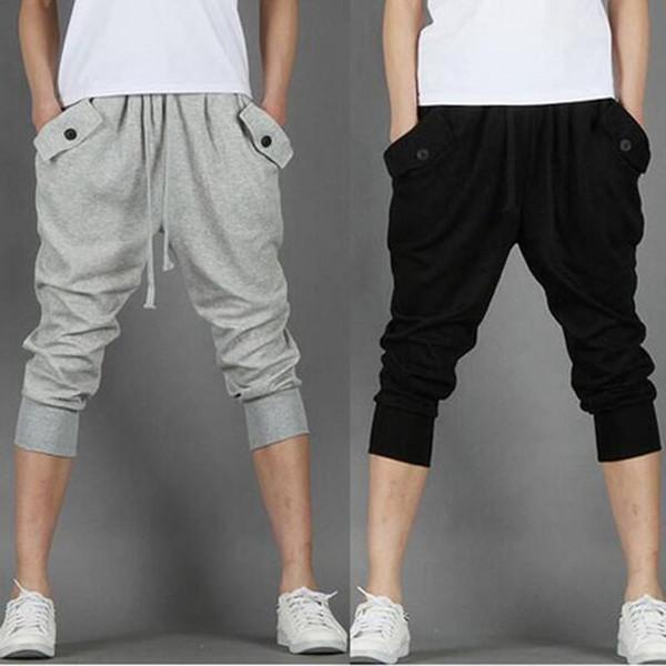 2018 Hot Sale!! Fashion Casual Loose Mens Capri Cropped Pants Sweatpants Jogger Trousers 2 Colors M-XXL