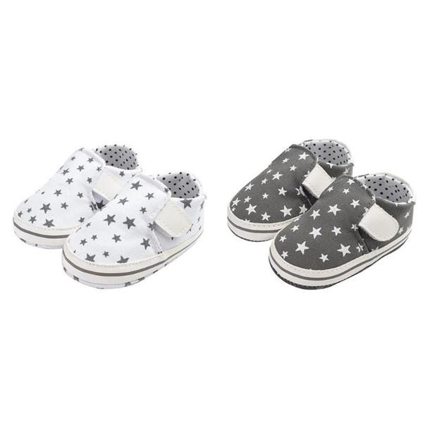 Sonbahar Rahat Unisex Bebek Prewalker Yıldız Baskı Çıkartmalar Kaymaz Ayakkabı Ilk Yürüyüşe Tuval Toddler Ayakkabı Bebek Ayakkabıları