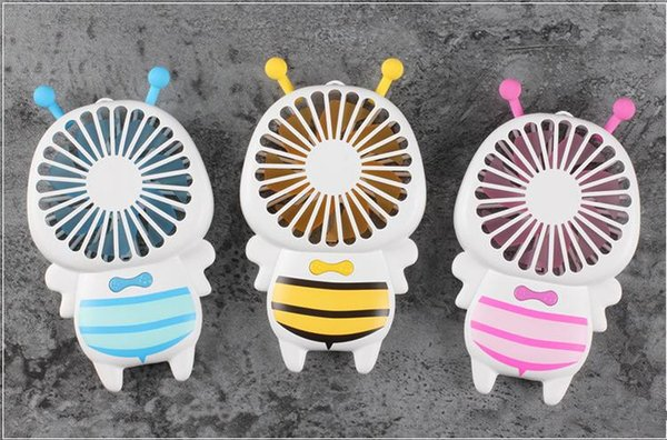 Hot sell Handy USB Fan Mini Bee Handle Charging Electric Fans Thin Handheld Portable Luminous Night Light For Home Office Gifts 3 Colors