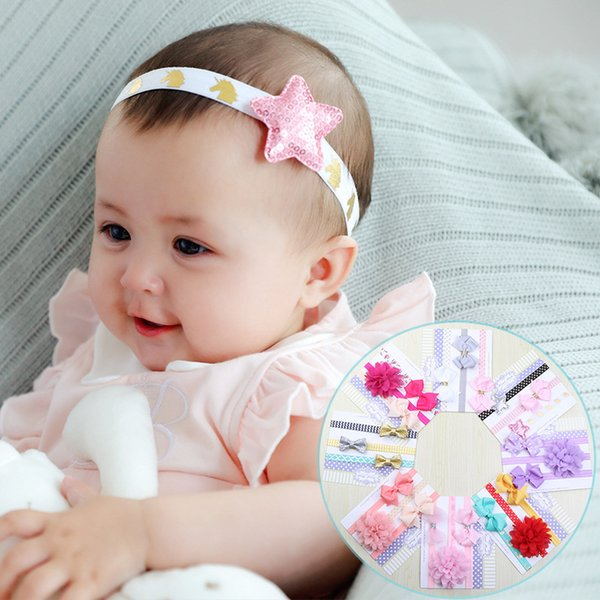 Hair band High-stretch print fabric with floral bows and cute little girls hair accessories The European and American style