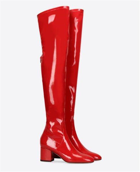 Plus Size Booties 2018 Mulher Red Coxa Alta De Couro De Patente Do Dedo Do Pé Redondo Quadrado Calcanhar Zipper Detalhe Moda Vestido Sobre O Joelho Botas De Mulheres
