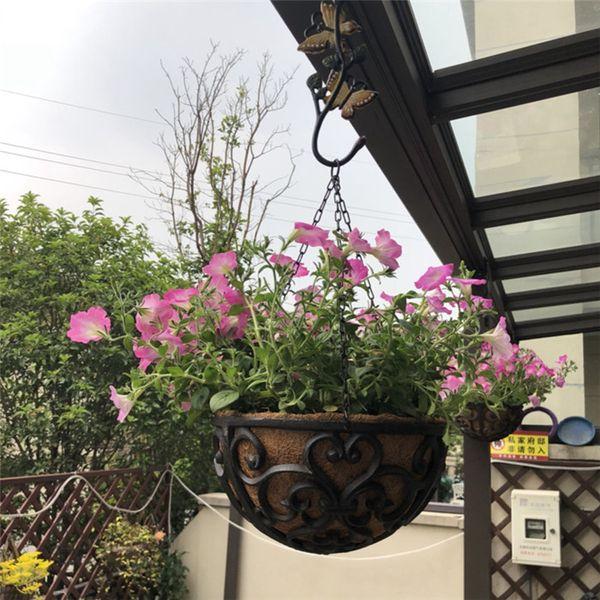 Half Round Cast Iron Hanging Flower Basket Rack Flower Pot Holder Heavy Metal Outdoor Garden Plant Holder Tray Hanger Antique Retro Brown