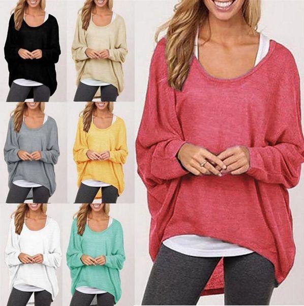 Las mujeres de manga larga camiseta irregular Pullover Sweat Shirts Loose Baggy Jumper Tops Batwing de punto Blusa suelta Camiseta 8 colores OOA3860