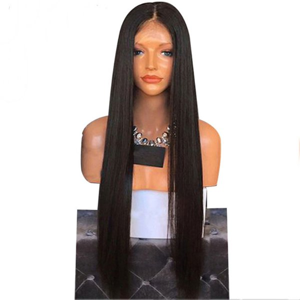 Cheap Synthetic Hair Wigs For Black Women Black Color Straight Heat Resistant Futura No Tangle Synthetic Lace Front Wigs With Baby Hair