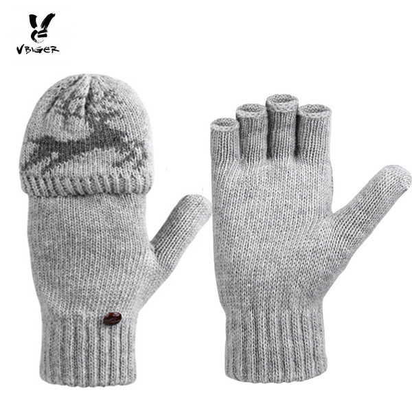 VBIGER Men Women Warm Knitted Gloves Dual Use Half-finger Flip Top Gloves Thick Winter Mittens Elk Pattern Chritmas Gift D18110806