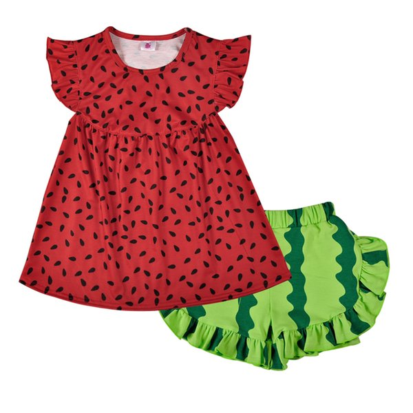 2018 Super Cute Remake Summer Sleeveless Watermelon Outfit Ruffles Pants Cotton Fabric Boutique Clothing Sets 2GK803-233 Y1892707