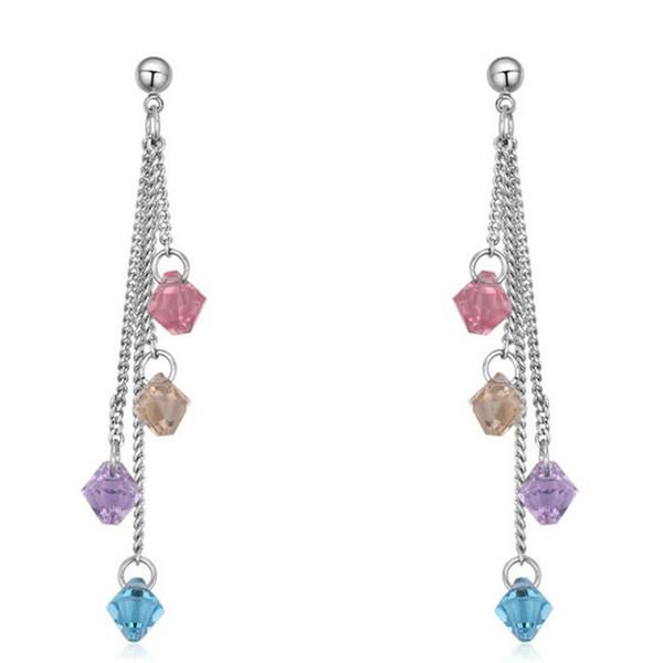 Fashion Wedding Jewelry For Women Crystal from Swarovski Elements Long Droplets Drop Tassel Earrings 23903