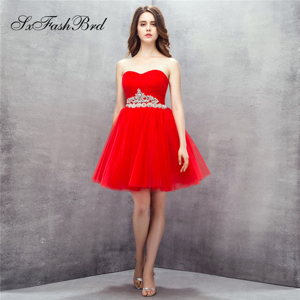 Elegant Sweetheart A Line Waist With Beading Mini Short Red Tulle Party Formal Evening Dresses for Women Prom Dress Gowns