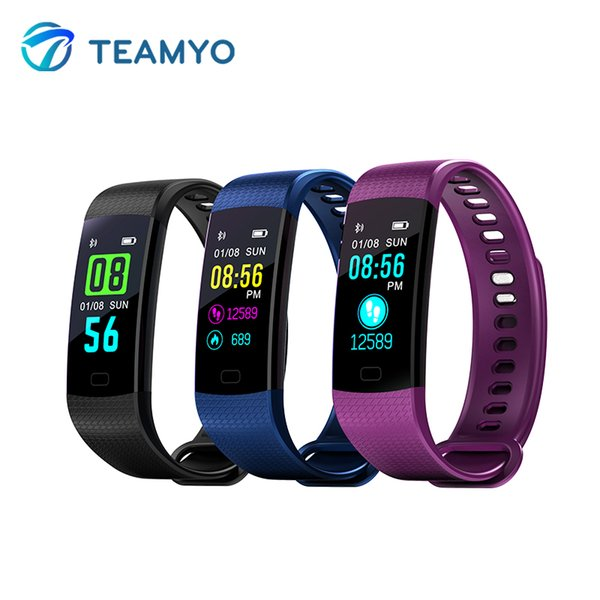 Teamyo Smart Band Color Screen Fitness Bracelet Heart Rate Monitor Watches Blood Pressure Oxygen Fitenss Tracker VS MiBand 2