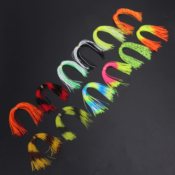 silicone skirts 12 Bundles Strands Silicone Skirts Soft Fishing Lure Baits Spinnerbatis Buzzbaits Rubber Jig Lures Salty Squid Fishing Baits
