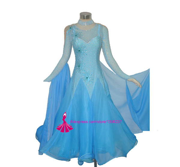 Salón de baile Competencia Vestido de baile Estándar para adultos Waltz Tango Escenario Falda de baile Buena calidad por encargo Mujeres Vestidos de salón