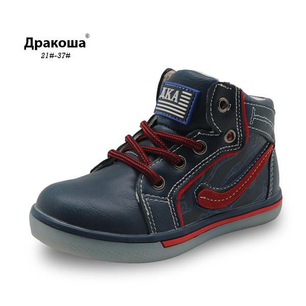 Apakowa meninos outono primavera ankle boots criança crianças escola shoes esportes lace-up botas de moto com zíper sneakers para menino