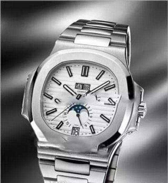 Nuevo Nautilus Classic 5726 5726A-001 Caja de acero Dial blanco Fecha grande Día automático Moon Phase Reloj para hombre Relojes deportivos SS Alta calidad A22452