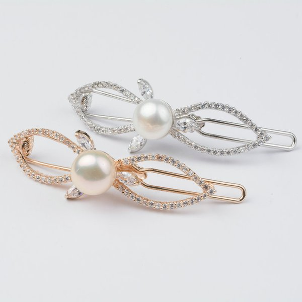 925 sterling silver pearl zircon Hair Combs/Barrettes Bowknot fashion design charms wild Hairpin for women fine jewelry