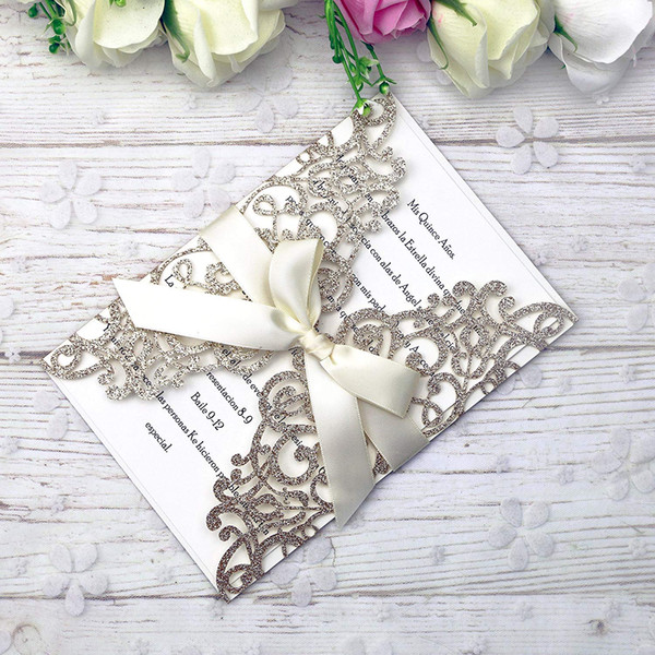 2019 New Arrival Gold Glitter Invitations Cards With Ribbons For Wedding Bridal Shower Engagement Birthday Graduation Business Party Party