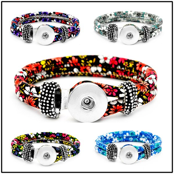 18mm Leather Snap Strands Button Bracelet Floral Button Bangle Wrist Watches Noosa DIY Jewelry for Women
