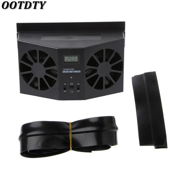OOTDTY Solar Power Auto Fenster Windschutzscheibe Auto Air Vent Kühlung Auspuff Dual Fan System Kühler Schwarz / Weiß