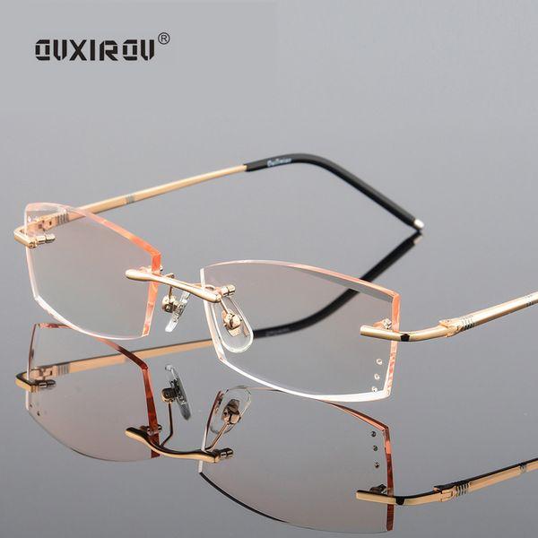 fashion  Diamond Trimmed Eyeglasses Rimless Glasses Men Women Titanium Anti-blue light Goggles Myopia Glasses Frame s829