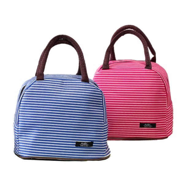 Thicker Aluminum Foil Stripe lunch bag Tote Women's Thermal Insulated Cooler Pouch Weekend Travel Picnic Bento Box Storage