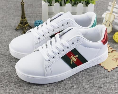 Shpping livre Ace bordado abelha mulheres pequenas sapatos brancos Queda de moda planas sapatos casuais tênis Para mulheres dos homens zapatos walking shoes