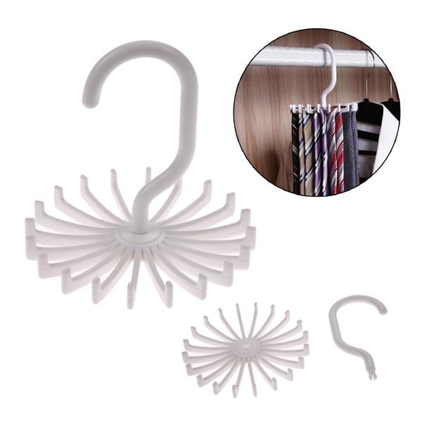 Plastic Rotating Tie Rack Hanger Holder 20 Hooks Clostet Clothing Rack Hanging Necktie Belt Shelves Wardrobe Organizer White c482