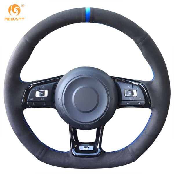MEWANT Black Suede Car Steering Wheel Cover for Volkswagen VW Golf 7 GTI Golf R MK7 VW Polo GTI Scirocco