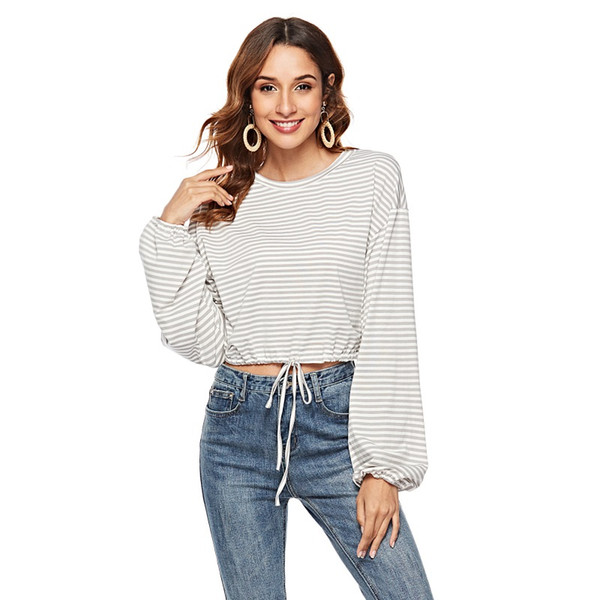 Autumn Casual Long Sleeve Round Neck T Shirts Fashion Women Knot Front Striped T Shirt Female Crop Top Tee Women T-Shirt