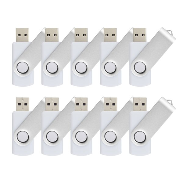 White Bulk 10PCS Metal Rotating USB 2.0 Flash Drive Pen Drive Thumb Memory Stick 64M 128M 256M 512M 1G 2G 4G 8G 16G 32G for PC Laptop Mac