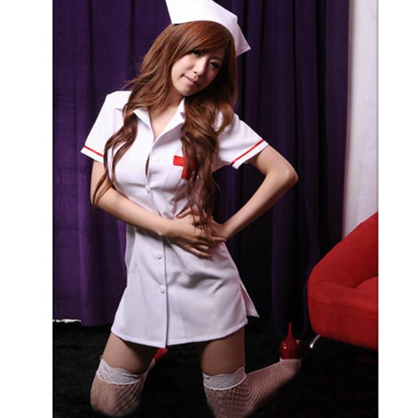 Plus Size Weiß Rosa Sexy Kostüme Krankenschwester New Adult Fantasia Krankenschwester Kostüm Uniform Hot Sexy Dessous Frauen Exotisches Kleid S18101509