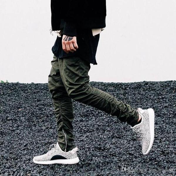 Uomini Jogger Justin Bieber KANYE WEST Nero Verde Grigio Khaki Side Zipper Harem Pantaloni Mens Tuta di gomma String Bottom Hip Hop P01