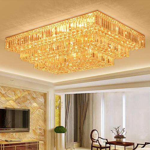 Crystal chandeliers fancy luxury rectangle high class K9 crystal chandelier hotel lobby living room villa led pendant chandeliers with bulbs