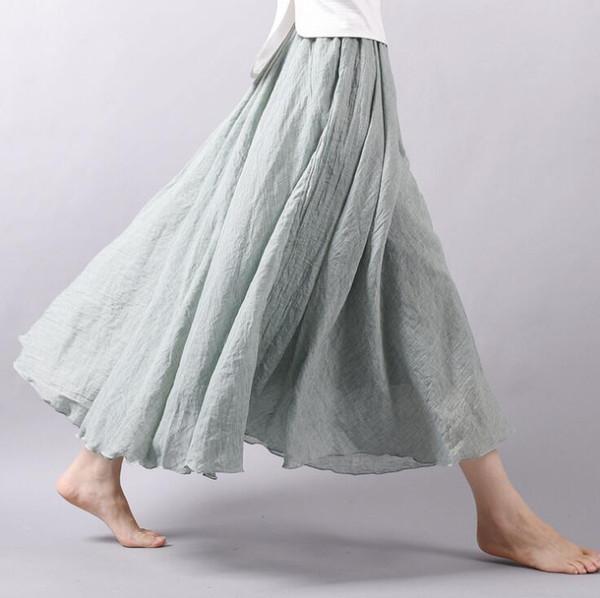 Femmes Lin Coton Jupe Longue Taille Élastique Plissée Maxi Dress Plage Vintage Automne Jupes 20 Couleurs