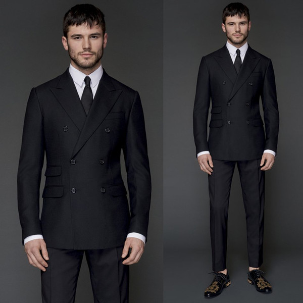 Handsome Bridegroom Suits Double Breasted Peaked Lapel Colour Black Men Tuxedos Two Pieces (Jacket+Pant) Business Clothing Set Men Costume