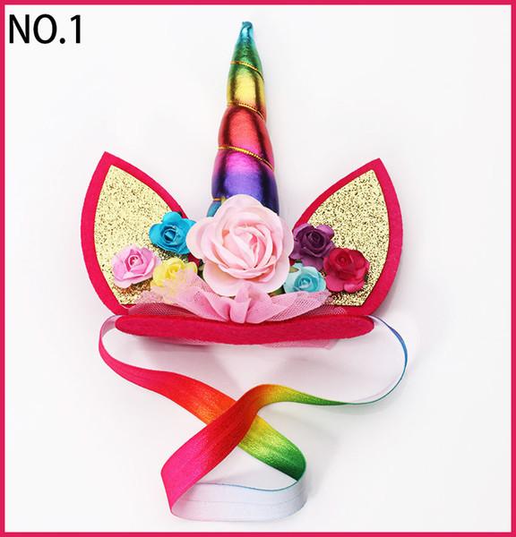 free shipping 20pcs Unicorn Flower Crown Headband party headband Magical Unicorn Headband Floral Gold Unicorn DIY Kit Horn