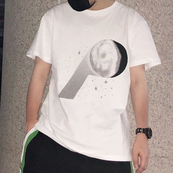 2018 Spring P-MOON T-SHIRT White Black Grey Fashion Summer Skateboard Solid Short Sleeves Men Women Street Casual Simple Tee HFYMTX110