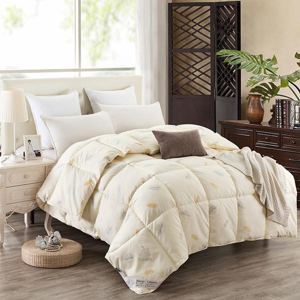 Großhandel Winter Gedruckt Single Double Blending Sanding Quilts Bettwäsche  Home Rosa Beige Weiß Duvets King Queen Size 3 ~ 4 Kg Hotel Schlafzimmer ...