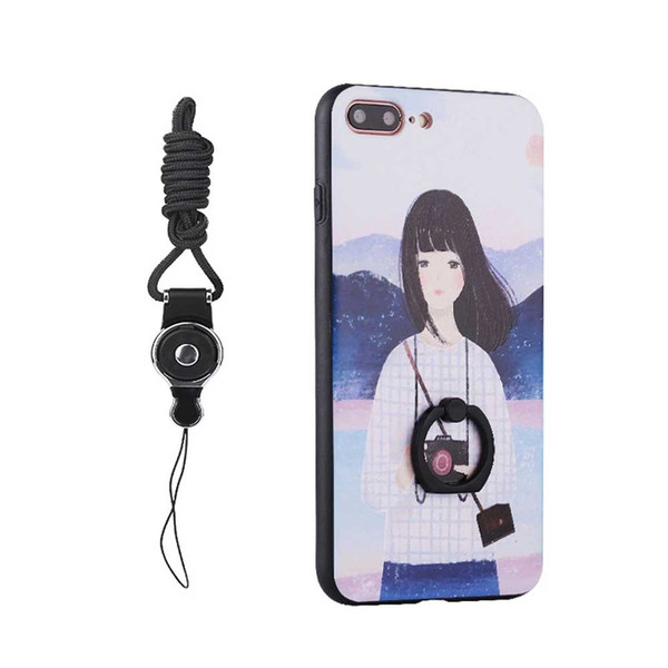 For iphone7plus/8plus Case ,Cartoon painting Slim Soft TPU Case Bumper Cover & Lanyard Neck Cord , Ring Kickstand