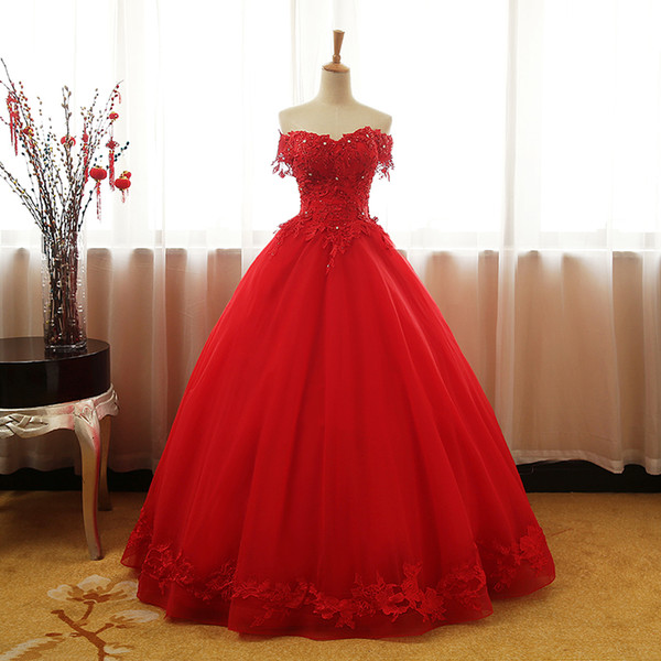 Fluffy Tulle A-Line Red Floor Length Prom Dresses With Crystal Lace Appliques Beaded Long Dresses For Prom Evening Gowns Sweetheart Lace-Up