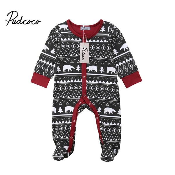 Navidad Bebé de los pies ropa del mameluco del ciervo rojo traje de año nuevo niño niña niños invierno trajes recién nacido Cotumes Jumpsui Y18102907