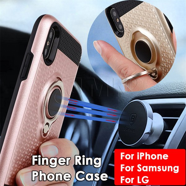 3D Finger Ring Magnetic Mobile Phone Case For IPHONE X 8 6 6S Plus Phone Cases and for samsung GALAXY S8 S9 Note8 S7Edge LG K10 K8 2017