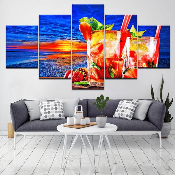 Canvas Art Modular Framework Wall 5 Panel Sunset Poster Fruit Tea Pictures For Living Room Print Paintings Kitchen Decor Artwork
