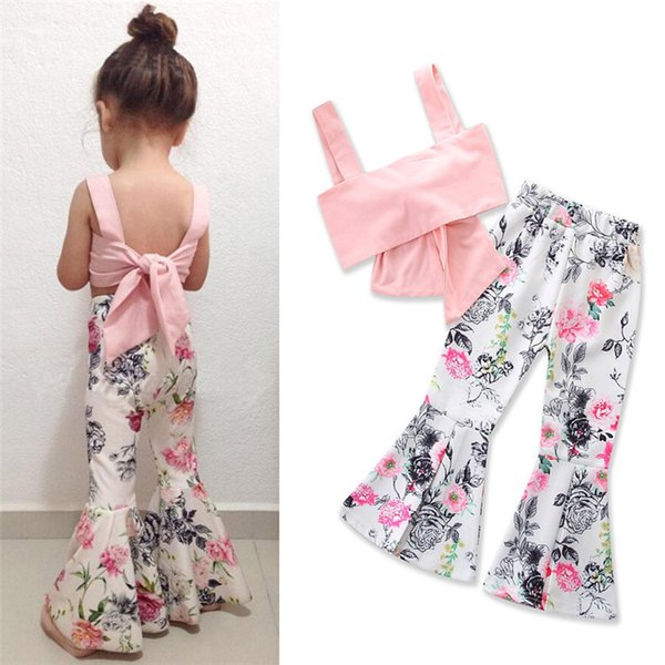 INS Hot Girls Summer Suit Lovely Bowknot Vest+White Flowers Flare Trousers 2 pieces/set 2-6 years old Girls Summer Clothing Sets LA635