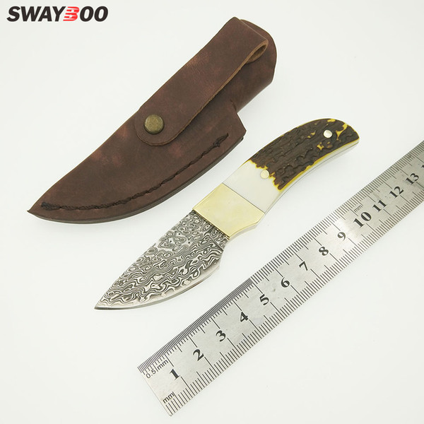 Swayboo Damascus steel blade Outdoor Camping knife Portable Survival Hunting knives with leather sheath knives fixed EDC knife