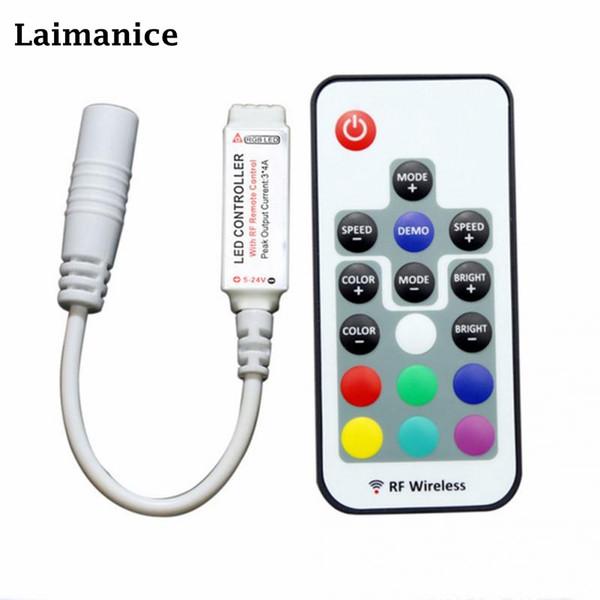Laimanice Led Controller 17 Keys LED RF RGB Controler Lights Controller RF Remote Dimmer DC 5V For RGB Strip