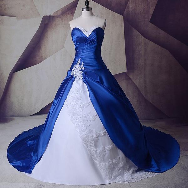 Parlak Gerçek Görüntü Yeni Beyaz ve Kraliyet Mavi Bir Çizgi Gelinlik 2019 Dantel Tafta Aplikler Gelin Kıyafeti Boncuk Custom Made Kristal Moda