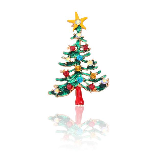 Fashion Rhinestone Christmas Tree Brooches Pins 80s Gold Enamel Crystal Star Christmas Trees Pin Brooch Xmas Broches
