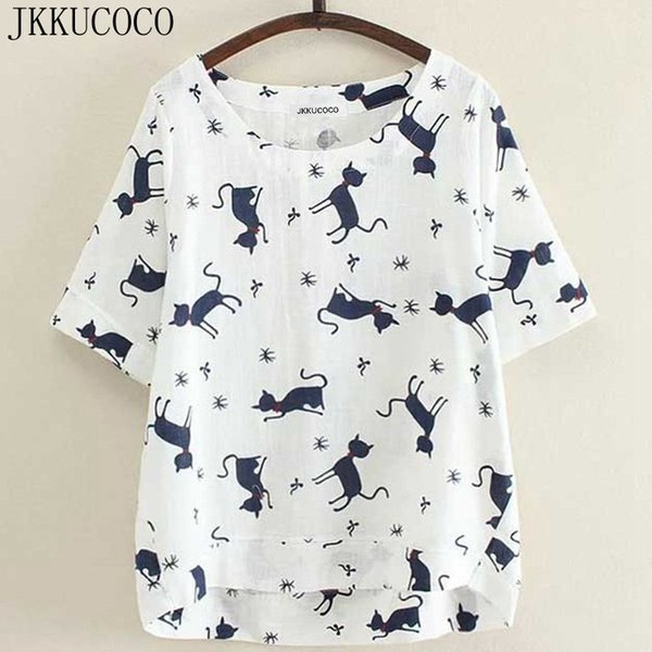 JKKUCOCO Lile black Cat Print Coon Linen Women t shirt front short back long Casual T-shirt Women Loose t-shirts Hot Tops